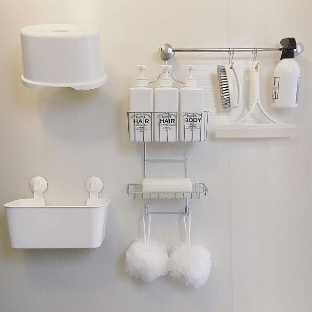 Bathroom,無印良品,ダイソー,IKEA,収納,お風呂,セリア,シンプル,モノトーン,お風呂場,一戸建て,詰め替えボトル,整理収納,お風呂収納,吊るす収納,ジェームズマーティン,モノトーンラベル,吊り下げ収納,泡立てボール,スクイージー,ホワイト収納,insta→syoko.t.home syokoの部屋