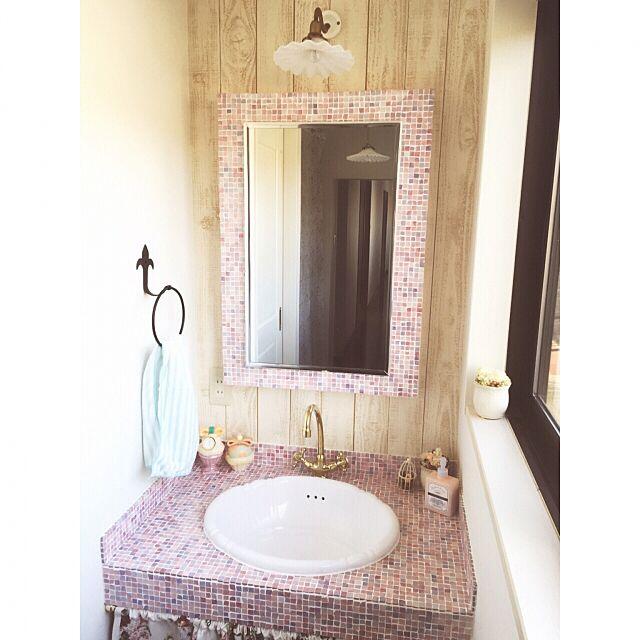 Bathroom,洗面台,造作洗面台,名古屋モザイクタイル,リノベーション amiの部屋
