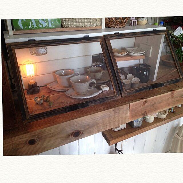 Kitchen,カフェ風,ニコアンド,エジソン電球,白山陶器,作家さんの器,DIY,ショーケース風 makkyfoneの部屋