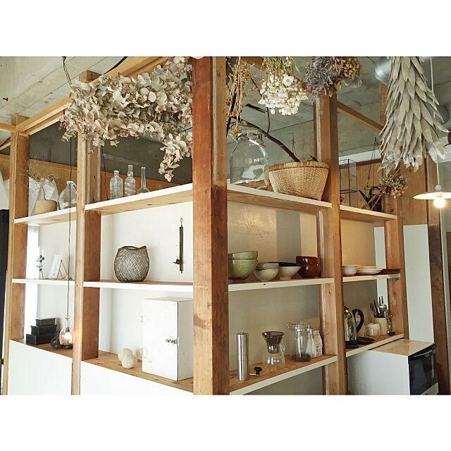 My Shelf,食器棚,リノベーション賃貸,DIY,アンティーク,古道具,塩系インテリア,塩系インテリアの会,賃貸でも楽しく♪,ドライフラワー,飾棚,収納,シンプルライフ yunの部屋
