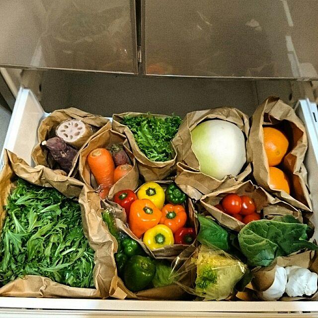 Kitchen,冷蔵庫,冷蔵庫の中,野菜室,野菜室収納 slow-lifeの部屋
