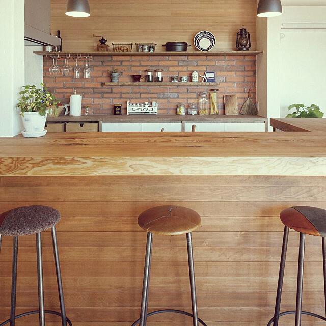 Kitchen,バー風,観葉植物,バーカウンター,ナチュラル,カリフォルニアスタイル,カフェ風,雑貨 Aikoの部屋