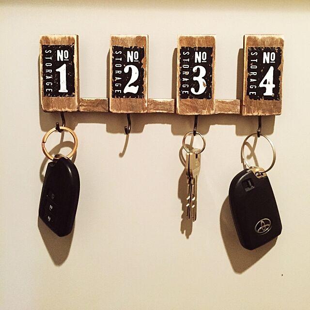 Entrance,鍵フック,ハンドメイド,100均,DIY,男前,雑貨 Ayakaの部屋