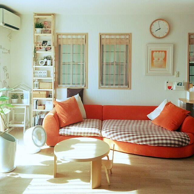 Lounge,北欧,ナチュラル,無印良品,サーキュレーター,ウンベラータ,こどもと暮らす。,IKEA,ベルメゾン,estic SPIGA ソファCANDY,ソファ,クッション,丸テーブル miyuの部屋
