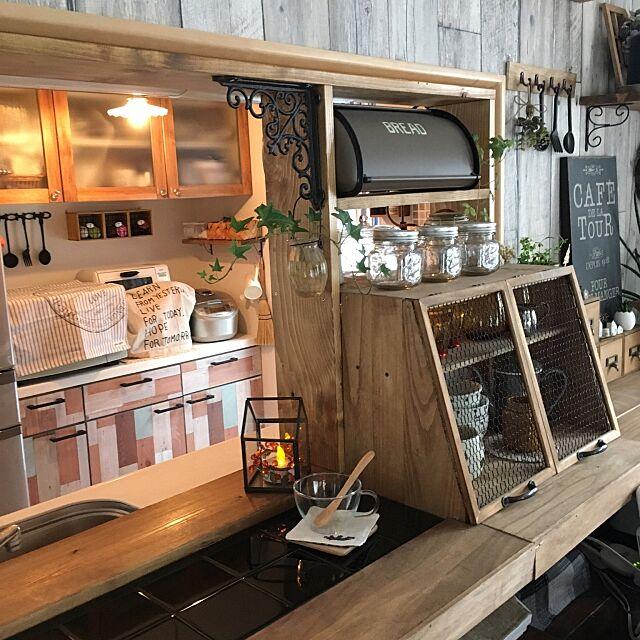 Kitchen,DIYカウンター,だってそれが…,アイアン,さりゅ,板を貼った食器棚,DIY棚,壁紙屋本舗,セリア chisaの部屋
