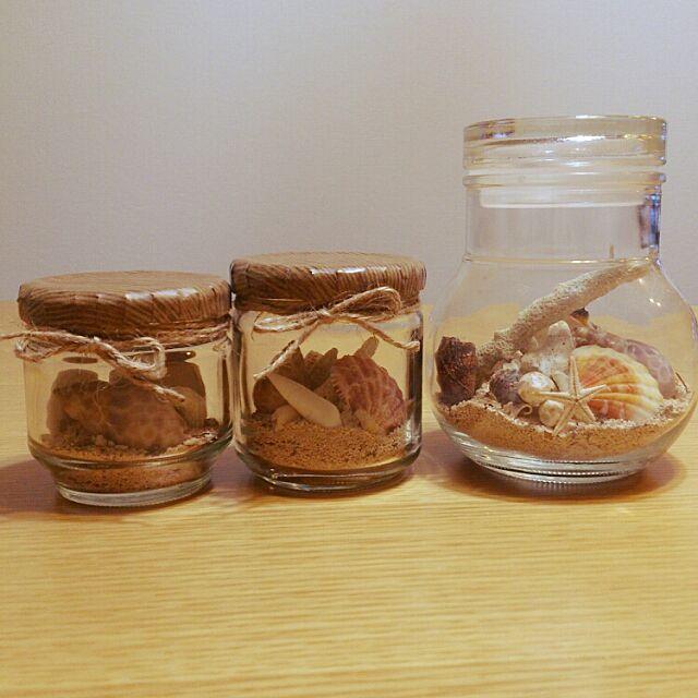 My Desk,星の砂,貝殻,リメイク,ハンドメイド・DIY,空き瓶 再利用,空き瓶 リメイク sakura0325の部屋