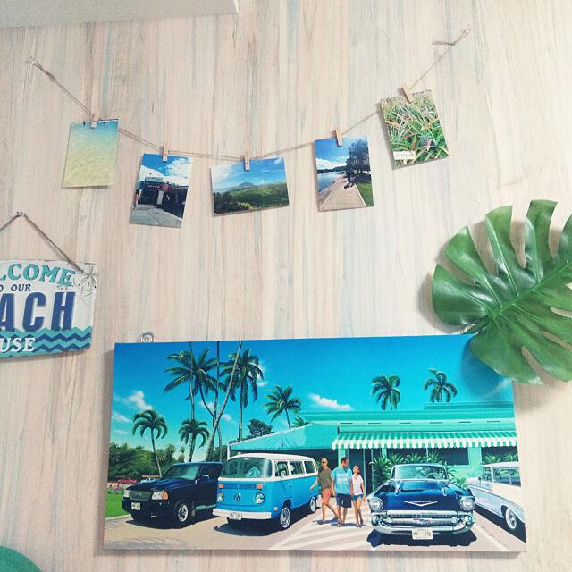 On Walls,セリア,南国リゾート風,海が好き,アロハ☺︎,ハワイを感じたい,ハワイ大好き,観葉植物,ハワイアンインテリア,ハワイアン,ニトリ,3COINS,フェイクグリーン,栗山義勝パネル,絵画のある部屋,モンステラ,アートパネル,寝室の一角,フィルモア mikichan_peの部屋