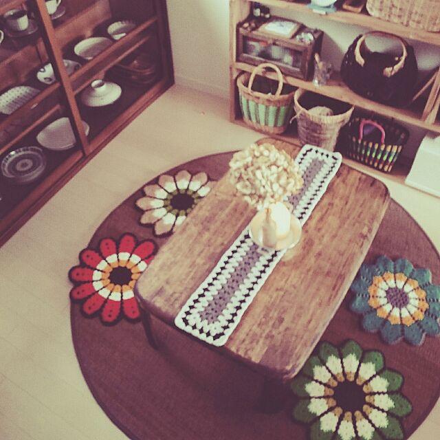 Lounge,ハンドメイド,おうちカフェに憧れて,冬支度,インテリア雑貨,かぎ編みモチーフ ブランケット,アンティーク家具,フォロー&いいね ありがとうございます♡,ミックスインテリア,手編み,古民家系,古家具のある空間,かぎ編み,和風,インテリア,円座,和食器,たなDIY Yukaの部屋
