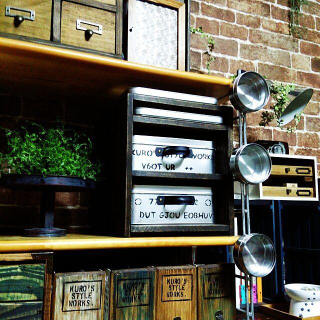My Shelf,DIY ,男前×レトロ,お煎餅の缶,サドルバンド,DIY引き出し棚,ステンシル,壁紙DIY,かべがみや本舗さん,いなざうるす屋さん,フェイクグリーン ,DIYボックス,IKEA,ワトコオイル kuroの部屋