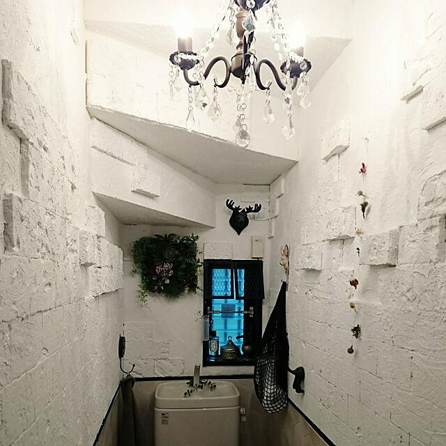 漆喰壁DIY,ig-miaramam,発泡スチロールレンガ,ネットバッグ,シャンデリア MIARAの部屋