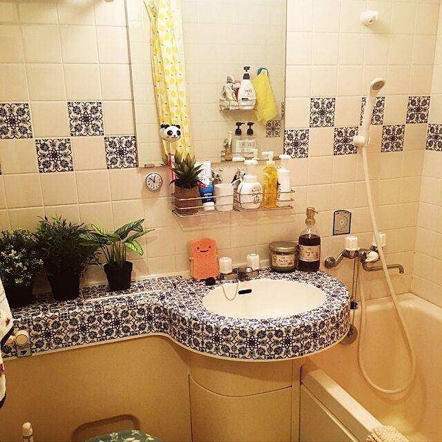 Bathroom,マスキングテープ,部屋作り中,ワンルーム,一人暮らし,6畳,賃貸,ユニットバス,DIY,100いいね!ありがとうございます♪,狭いスペースを生かしたい r2.d2の部屋