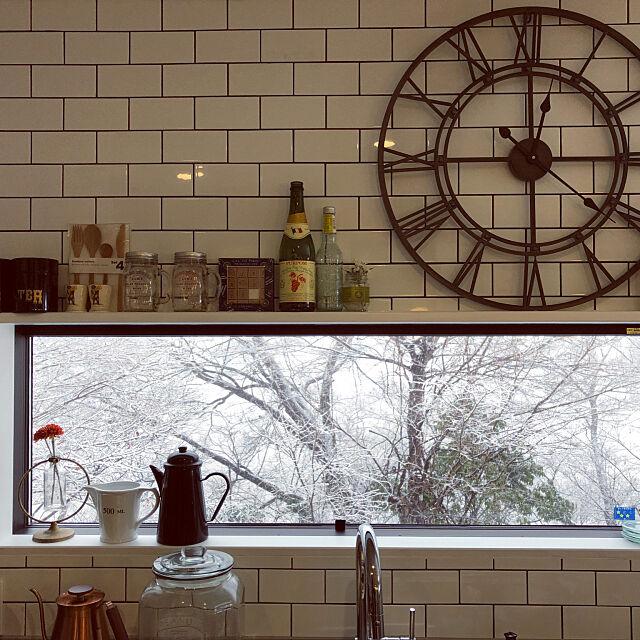 Kitchen,サブウェイタイル,ディスプレイ,カフェ風,注文住宅 楽屋,雪風景,アパートメントスタイル,夜景,窓辺,リバーサイド Hayatoの部屋
