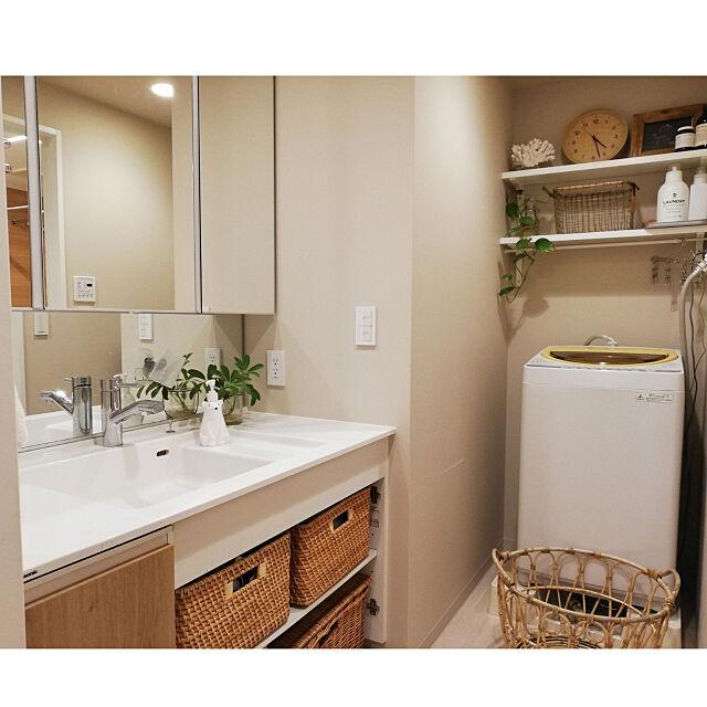 Bathroom,片付けやすい,IG→kikilala.003,マンション,ハンドメイド,ナチュラル,DIY,IKEA,無印良品,三面鏡,収納,洗面台,観葉植物,ZARA HOME,洗濯機周り,Panasonic kikilalaの部屋