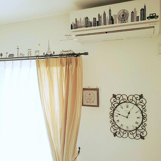 On Walls,エアコン,100均,ダイソー,掛け時計,セリア,ウォールステッカー tocchiの部屋