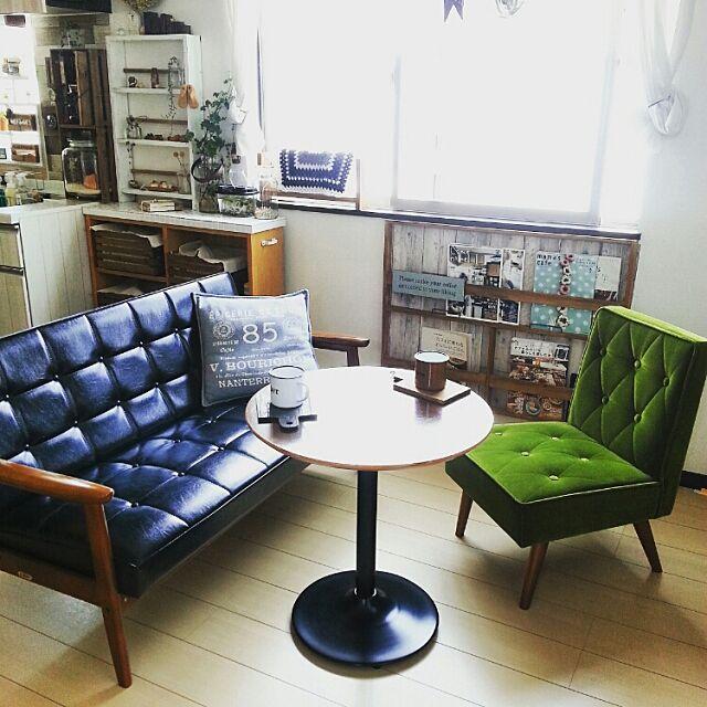 Lounge,カリモク,丸テーブル,DIY,男前もナチュラルも好き,マガジンラック,植物,ドライフラワー,カフェ風,カリモク60 hiromi0302の部屋
