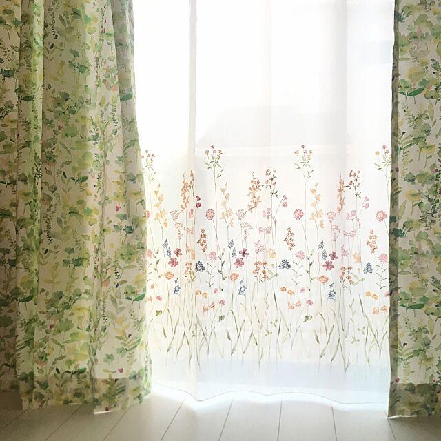Lounge,ニトリオーダーカーテン,刺繍レースカーテン,カーテン,掃き出し窓 mamemako429の部屋