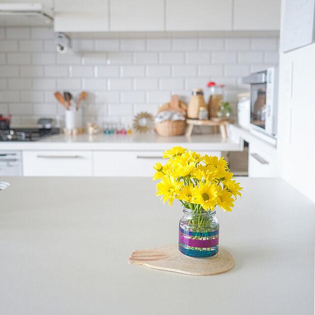 Kitchen,リノベーション,マンション,一番好きな場所,LIXIL,マンションリノベーション,雑貨,シンプルインテリア,海外インテリア好き,お花のある暮らし,お花,ジャムの空き瓶,ジャムの瓶,空き瓶リメイク,リメイク,花瓶,フラワーベース,リフォーム,アレスタ,LIXILキッチン mimi.lifeの部屋