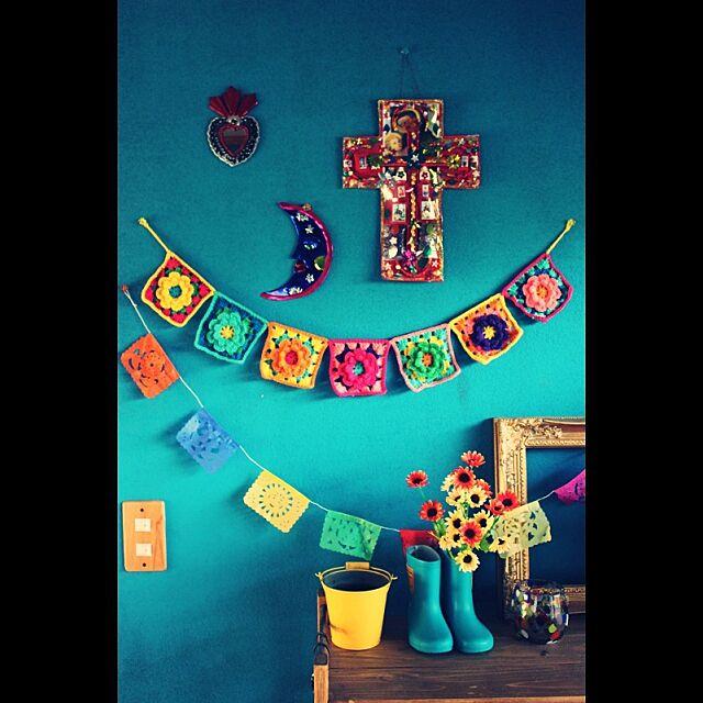 Entrance,色壁,メキシコ雑貨,手編みガーランド,編み物部 ebimusumeの部屋