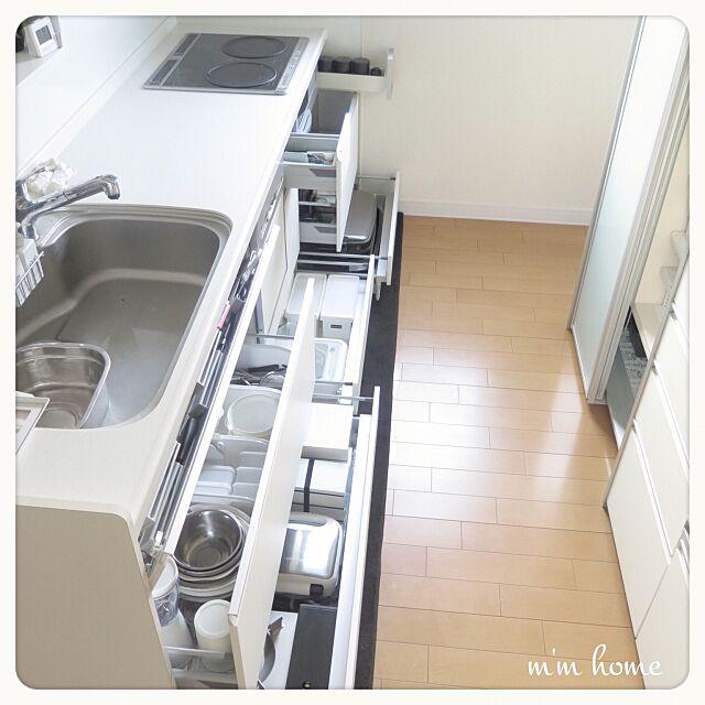 Kitchen,引き出し収納,インスタやってます!,収納,モノトーン,マイホーム,断捨離,白黒マニア,Instagram→m_m_home,美収納,白黒,100均,ダイソー,seria m_m_homeの部屋