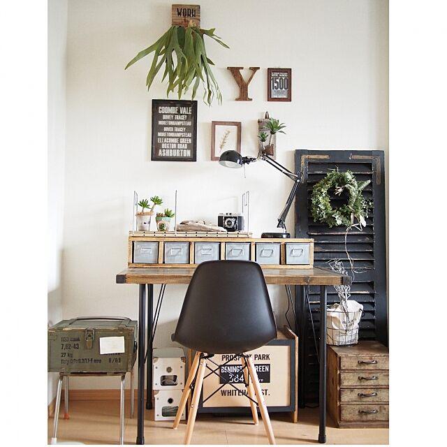 My Desk,ラティス,小引き出し,いなざうるす屋さん,ワークデスク,ワークスペース,DIY,フレームディスプレイ,グリーンリース,木箱,古道具 akiの部屋