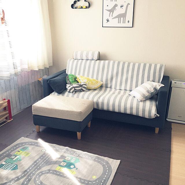 Lounge,いつもマネっこでごめんなさい,こどもと暮らす。,Francfranc,フルーツクッション,グレーストライプ,イブルキルティングマット,KEYUCA,ケユカ,ソファ minteaの部屋