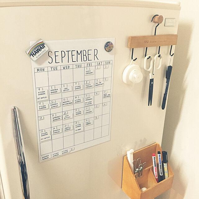 Kitchen,マグネット,ホワイトボード,ごみカレンダー,ゴミカレンダー,冷蔵庫,モノトーン,100均,セリア,ホワイト化を目指して,シンプル kitamutorecoの部屋