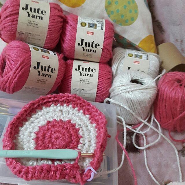 Bedroom,あみもの,全て100均,かぎ針編み♡,DAISO♪,ダイソー,バッグ,100均,編み物,かぎ針編み,Daiso,麻紐,麻ひも編み,麻ヒモ,何が出来るでしょう?,編み物好き,編み物初心者,自己満足の世界 Nanamiの部屋