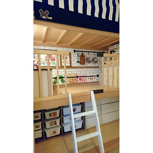 Bedroom,DIY,おうちカフェ,ストライプ,押入れ改造,こどもと暮らす。,キッズスペース,おもちゃ箱DIY Rikokkumamaの部屋