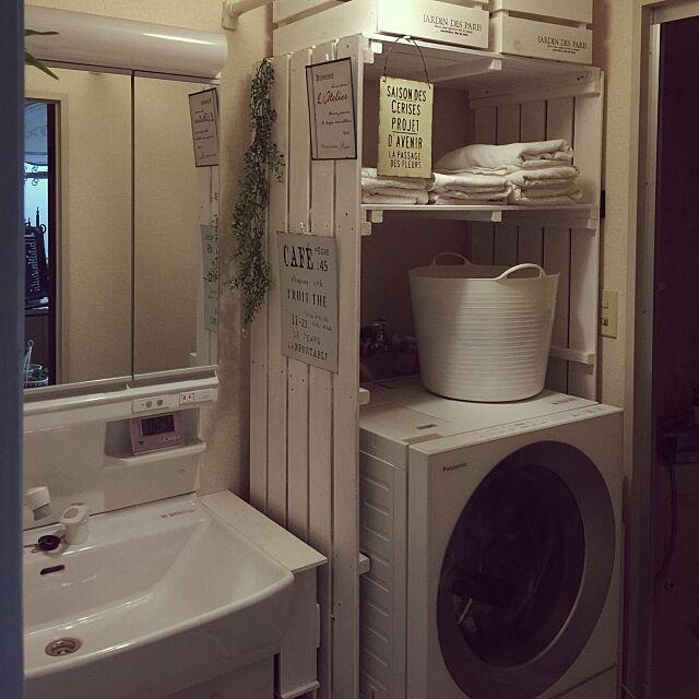 Bathroom,スノコのランドリーラック,フェイクグリーン,ガーデン雑貨,ホワイトペイント,ハンドメイド,DIY hideの部屋