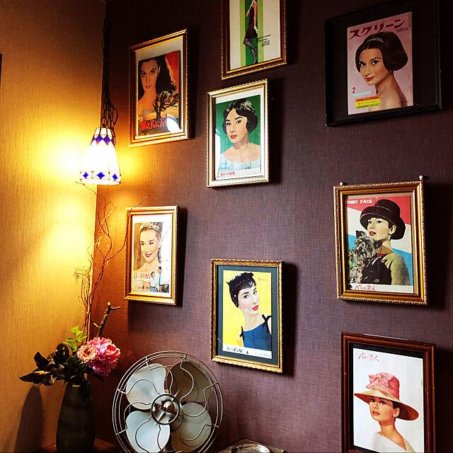 古い映画のパンフレット,昭和レトロ,ステンドグラス照明,お気に入り,骨董品,古い映画のポスター,古い扇風機,古いものが好き♡,古い帯をテーブルライナーに,ペンダントライト,Bathroom Mayumiの部屋
