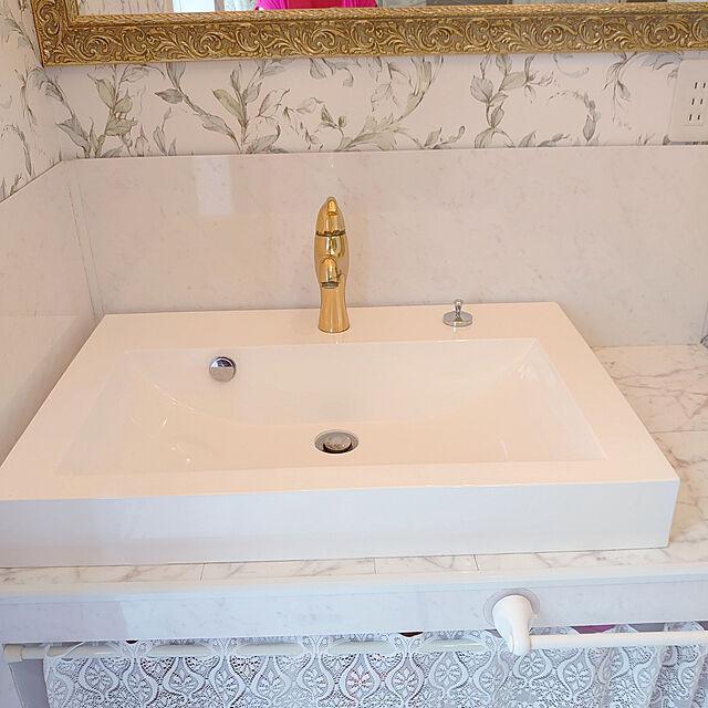 Bathroom,洗面スペース,ありがとう,かめらまーく消し,感謝,キッチンパネル,水はね防止手作り machikomamaの部屋