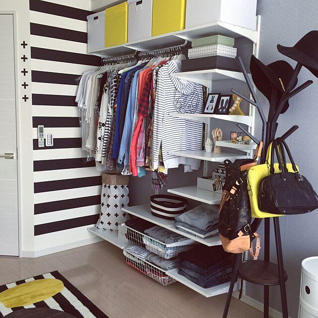 Overview,HAY,モノトーン,クロス柄,IKEA,Francfranc,ボーダー,CA4LA,帽子掛け,イエロー,miniwilla,洋服収納,ALGOT,mt CASA,白黒,北欧,モノトーンインテリア,モノトーン好き Mi-naHiの部屋