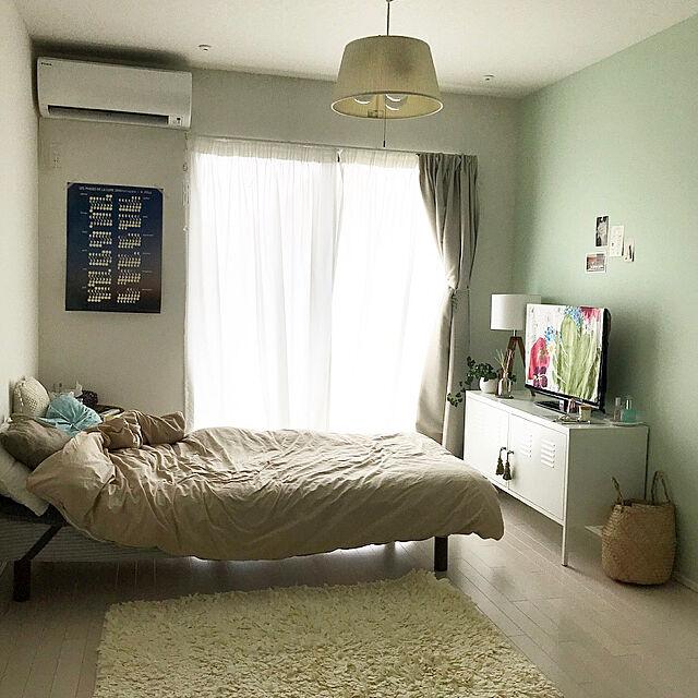 Overview,1R,RoomClipドラマ化,IKEA,一人暮らし,テレビ台,賃貸インテリア,IKEA PS,アクセントクロス,IKEA PSキャビネット,アクセントクロス グリーン,脚付きマットレス,無印良品 Yukoの部屋