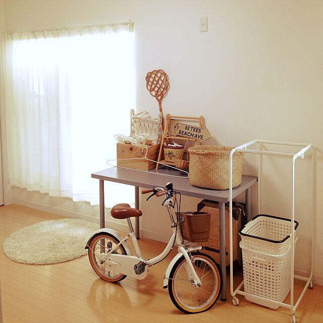Overview,ワイン木箱,洗濯道具,白,シンプル,自転車,ナチュラル,整理整頓,かご好き,IKEA 31の部屋