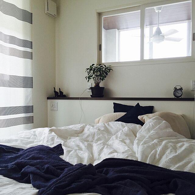 Bedroom,ガジュマル,ブルー大好き,ZARA HOME,小窓からの景色,シーリングファン,ネイビー好き small-erikoの部屋