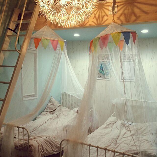 Bedroom,キッズルーム,たんぽぽライト,はしご ,ロフト付きの部屋,ロフト下,IKEA memi21の部屋