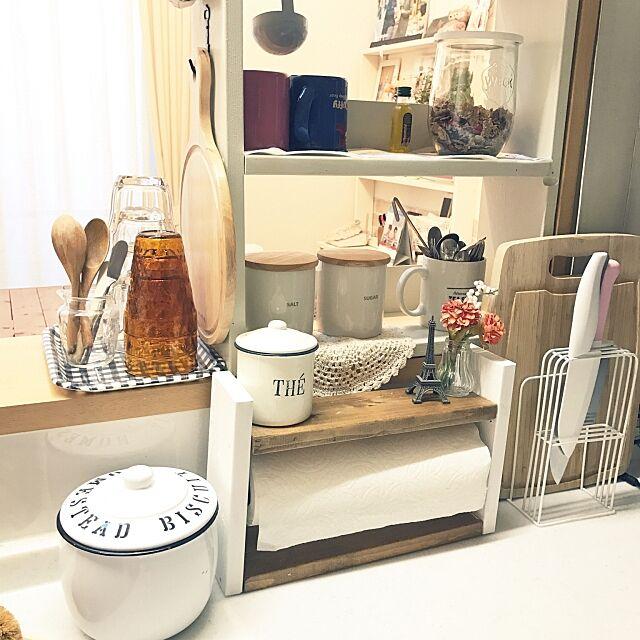 Kitchen,生ゴミ入れ,キャニスター,白い包丁,キッチンペーパーホルダーDIY,WECKの瓶,セリア,カフェ風,ナチュラル Appletreeの部屋