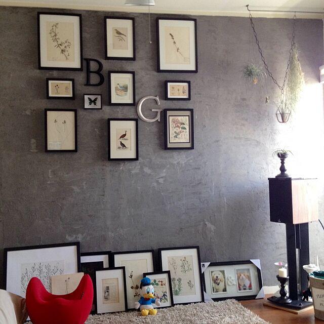 Lounge,植物標本,フレーム,ドナルドダック,クビレディ,キャンドルスタンド,スパニッシュモス,エアプランツ,スピーカー,まだ途中ですが…,アンティーク,図鑑の絵,蝶 ,標本,アルファベットオブジェ,DIY,漆喰壁,sibora,お気に入り ohama147の部屋