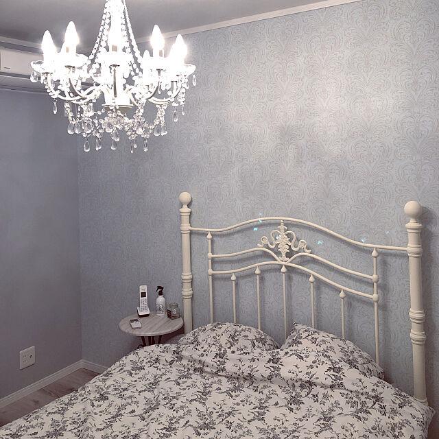 Bedroom,北欧,シャンデリア,プリンセス,フレンチ,フレンチシャビー,アンティーク,グレーインテリア,ホワイトインテリア,グレー,ホワイト×グレー,グレーの壁,ホワイト tomoの部屋