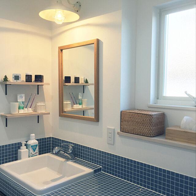 洗面所,タイル張り,実験用洗面台,無印良品,ブルーグレー,IKEA,ニトリ,Bathroom riko88の部屋