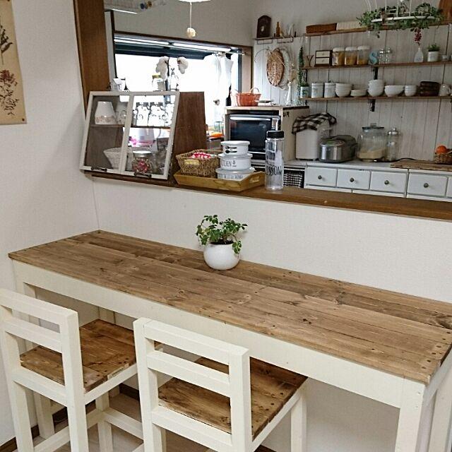 Kitchen,セリア,椅子DIY,カウンターテーブル DIY momoの部屋