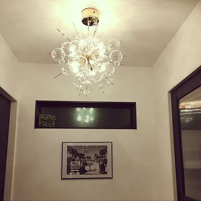 新築一戸建て,ヴィンティア,ヴィンティア ネイビーブルー,LIXILドア,オシャレなポスター,玄関ホール,照明マニア,照明が好き,照明,シャボン玉ライト,シャンデリア,Entrance Yumiの部屋
