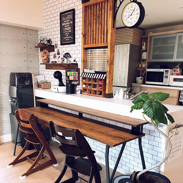 カフェ風インテリア,子どもと暮らす,両面時計,パーテーションDIY,キッチンカウンターDIY,IKEA,2×4材,DIY,ウンベラータ,収納アイデア,Overview Rikokkumamaの部屋