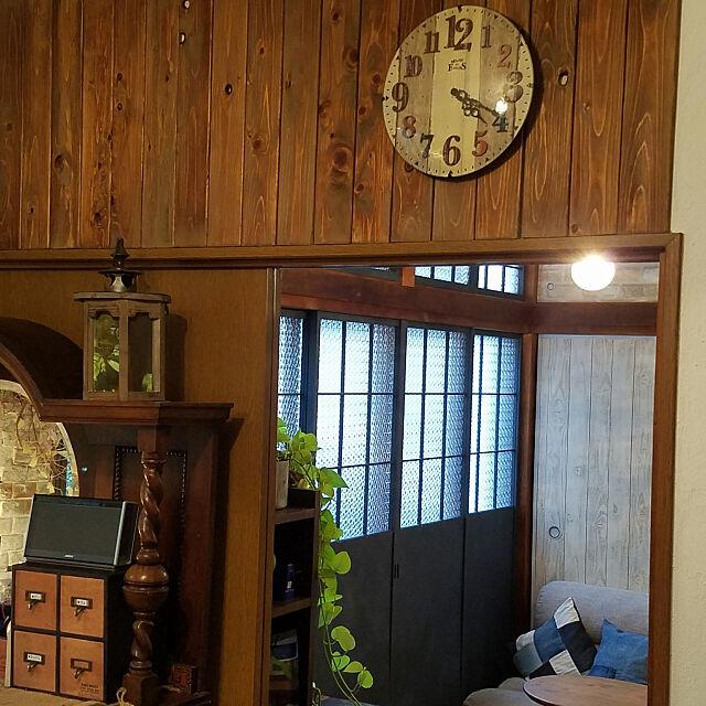 Overview,アンティーク家具,板壁DIY,グリーンのある暮らし,漆喰壁DIY,漆喰うま~くヌレール,和室を改造,かべがみや本舗さん,ふすまリメイク,障子リメイク,ペンダントライト,ガラスフィルム saku-naraの部屋