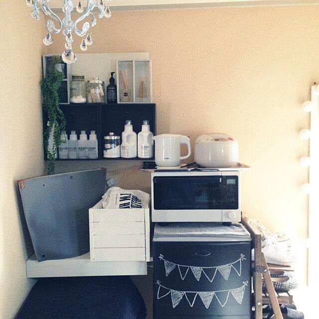 Kitchen,モノトーンインテリア,黒板冷蔵庫,冷蔵庫,電子レンジ,生活感,1人暮らし sakielの部屋
