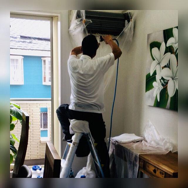 スッキリ,やっぱりプロ!,ありがとう〜,業者さんに依頼,エアコン掃除,大掃除,狭小3階建,プルメリア,吹き抜けのある家 manari3の部屋