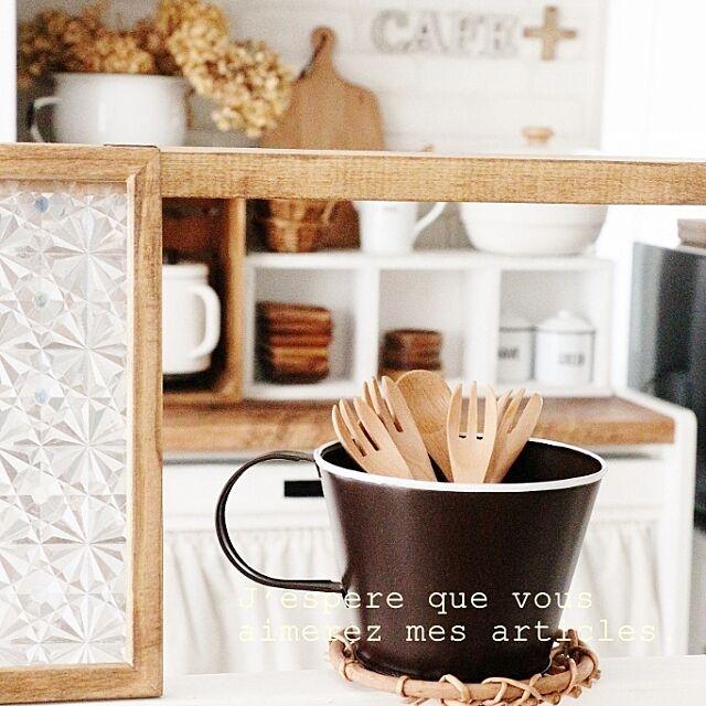 おはようございます♡,ダイソー,持ち手の可愛いカップ,カトラリー,ガラスシート,DIY,ディアウォール棚 takimoto-manamiの部屋