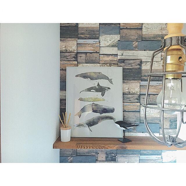 Bathroom,ポスター,IKEA,クジラ,アクセントクロス,シンプル,シンプルライフ,ニトリ,自然素材,柿渋塗装,パイン材,木の家,ミックスインテリア,小さなお家 Reiyaの部屋