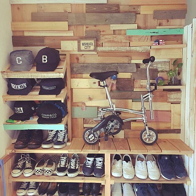 My Shelf,エイジング加工,スクラップウッド,廃材,ナチュラル,自転車置き場,男前,ビンテージウッド,DIY,北欧,カフェ風,アンティーク,ハンドメイド,古材,下駄箱,サイクルルーム DSKの部屋