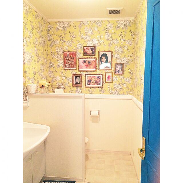 Bathroom,洗面所,DIY,パリ,海外ドラマのインテリア,絵画,ゴシップガール,壁紙DIY,100均 Ayumiの部屋